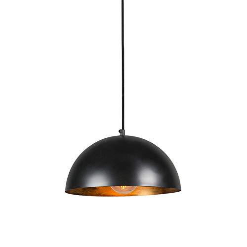QAZQA Rustique Lampe à Suspension/Lustre/Luminaire/Lumiere/Éclairage industrielle noire avec or 35 cm - Magna Eco Métal Noir,Doré Rond E27 Max. 1 x 40 Watt/intérieur/Salon/Cuisine