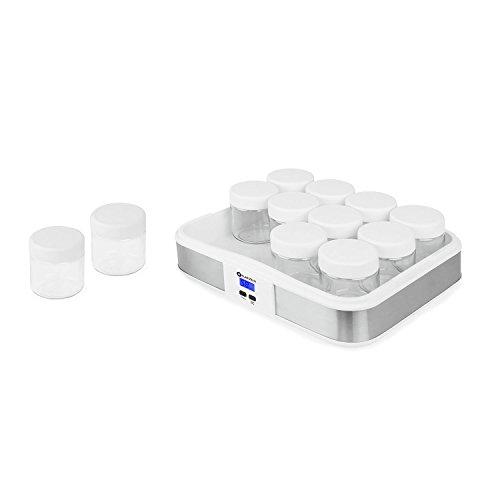 Klarstein Gaia Yogurtera 12 vasos (maquina para hacer yogur casero, 2,5L volumen, 12 frascos individuales de 210ml, cierre rosca, pantalla LCD retroiluminada, acero inoxidable)