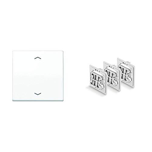 Jung AS591PWW Wippe für Taster BA 1-fach & Smart Home 3tlg. Unterputz Adapter Set (für Jung (J2) Schalter)
