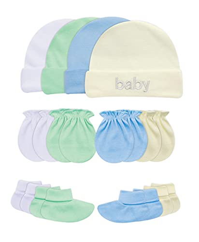 Songbai Baby Gift Set 100% Cotton Caps Socks and Mittens For Newborn Boys Girls (0-6 Months, 4-set/assorted)