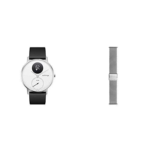 Withings Steel HR Hybrid Smartwatch - Fitnessuhr mit Herzfrequenz und Aktivitätsmessung, 36mm - Weißes, Schwarz Silikonarmband & Mailänder Armband, Silber