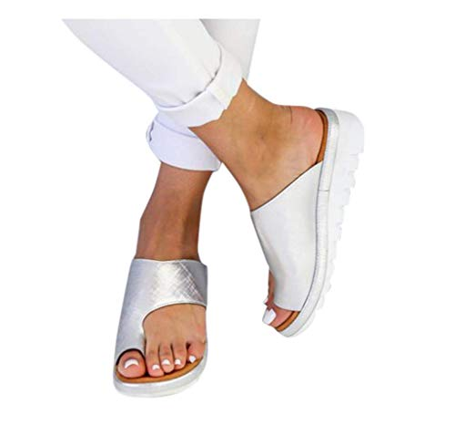 Orthopedic Bunion Corrector Sandals,Comfy Platform Flat Sole PU Leather Shoes for Women (Silver,10)