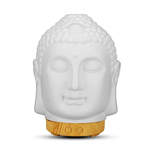 Buddha Head Oil Diffuser Ceramic Aromatherapy Diffusers,100ML Air Humidifier with Waterless Auto Shut-Off & 7 Color Lights,White Buddha Aroma Diffuser for Home Zen Yoga Decor Gift (Wood Grain Color)