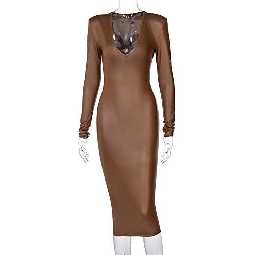 ShSnnwrl Vestido de Moda Vestido Midi de Manga Larga de Cuero PU para Mujer, con Cuello en V, hombrera, ceñido al Cuerpo, Sexy, e