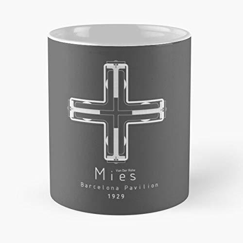 Iconic Architects-Mies Van Der Rohe - Taza de café de cerámica blanca, color blanco