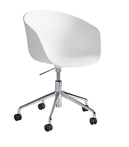 HAY, About a Chair, wit, AAC 52, armleuningstoel, met gaslift, Office Chair, bureaustoel, in hoogte verstelbaar, schaal wit, frame aluminium glanzend gepolijst, met zachte wielen, H: 74,5-87,5cm