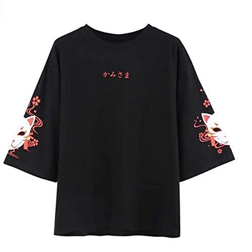 Frauen T-Shirt Fox Antiquity Lose Spitze Zurück Halbarm T-Shirt