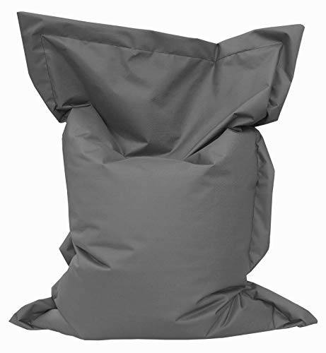 GiantBag Giant Bag Sitzsack Chill Out Liege & Sitzkissen Indoor & Outdoor Tobekissen Bodenkissen Sessel für Kinder & Erwachsene (145 x 120 cm, Anthrazit)