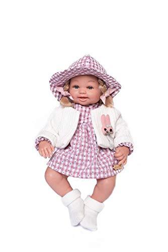 Muñecas Guca- MUÑECA ÁNGELA Vestido A Cuadros Rojo Y Blanco Anclas con Rebeca Lana CRUDA Y GORRITO. 38CM, Multicolor (911)