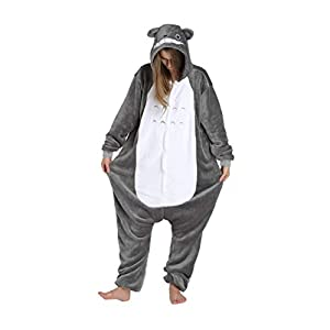 Unisex Animal Totoro Costume Pajamas Adult Kids Teen Women Men Plush One Piece Cosplay Sleepwear