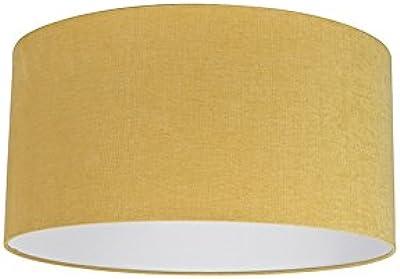 QAZQA Moderno Algodón y poliéster Pantalla amarilla 50/50/25, Redonda/Cilíndrica Pantalla lámpara colgante,Pantalla lámpara de pie: Amazon.es: Iluminación