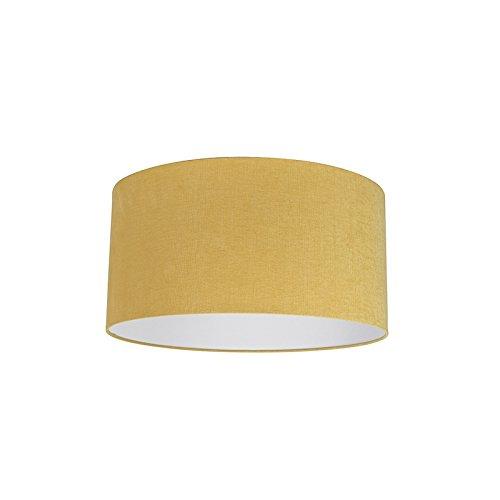 QAZQA Modern Polyester Lampenschirm 50/50/25 Zylinder Mais-gelb, Rund gerade Schirm Pendelleuchte,Schirm Stehleuchte