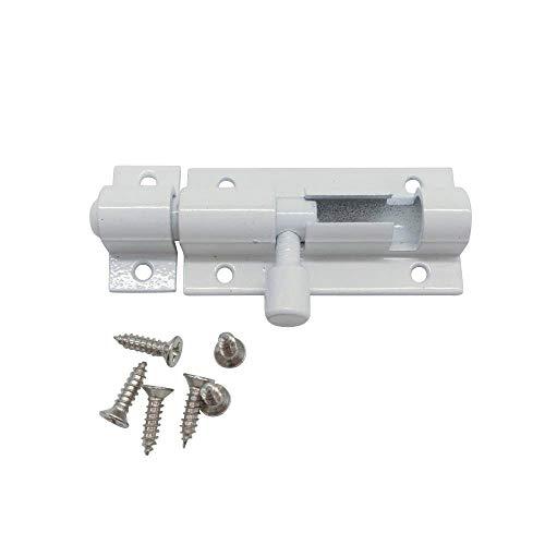 VOWAN 4 Piezas Perno de Barril Cerradura de Puerta de aleación de Aluminio Cerradura de Cerrojo de Puerta Blanca Cerradura Herraje para Puerta de Seguridad para el hogar, 5 Pulgadas