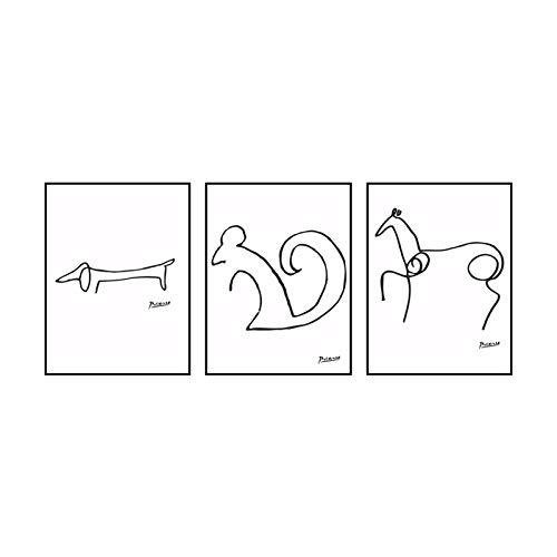Póster de líneas de Pablo Picasso Perro Ardilla Caballo Arte de Pared Abstracto Impresiones Minimalista Animal Lienzo Pintura Cuadros nórdica Decoracion del hogar 40x60cmx3 Sin Marco