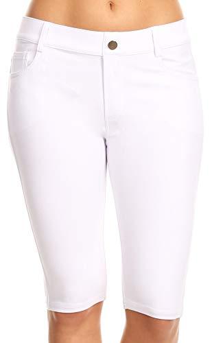 ICONOFLASH Women's White Bermuda Shorts 5 Pockets Pull on Cotton Jegging Shorts Stretchy Denim Like Leggings Size Small