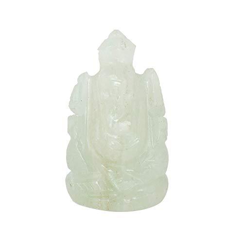 GEMHUB Estatua de elefante de jade verde de 55,50 quilates hecha a mano con piedras preciosas naturales para decoración del hogar