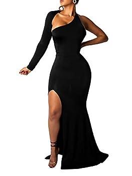 BEAGIMEG Women s Elegant One Shoulder Sexy Backless Side Split Evening Long Maxi Dress Black
