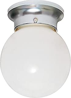Nuvo Lighting SF77/110 One Light Ceiling Fixture Flush Mount, Polished Chrome/White Glass