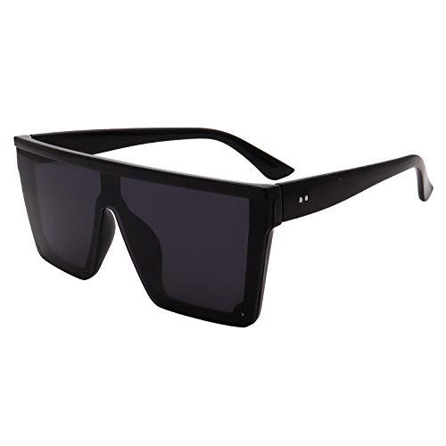 FOURCHEN Gafas de sol cuadradas de gran tamaño para mujeres y hombres de moda con marco grande, Completamente negro.,