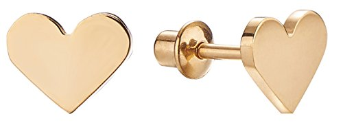 18k Gold Plated Screw Back Heart Stud Hypoallergenic Earrings for Kids, Baby, Toddler, Little Girls with Surgical Steel Post for Ultra Sensitive Ears with Secure Safety Screwback