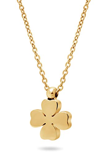 Nuoli® Kette Kleeblatt Gold (45 cm) Halskette mit Glücksklee Anhänger