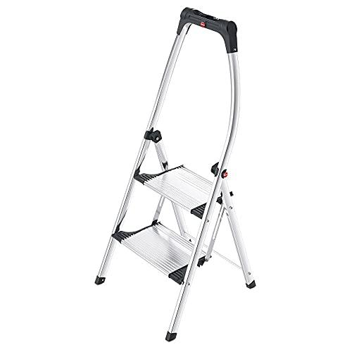 Hailo K100 TopLine Alu-Klapptritt-Leiter | 2 extra große Stufen bis 150kg | Komfort-Trittleiter mit hochgeschwungenem Sicherheitsbügel & Ablageschale | Füße mit Soft-Grip-Sohle | rostfrei | silber