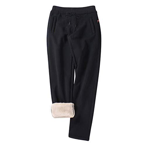 LAEMILIA Dicke Hose Damen Sporthose Winter Warme gefütterte Jogginghose Tunnelzug Taille Einfarbig Gemütliche Lange Hosen