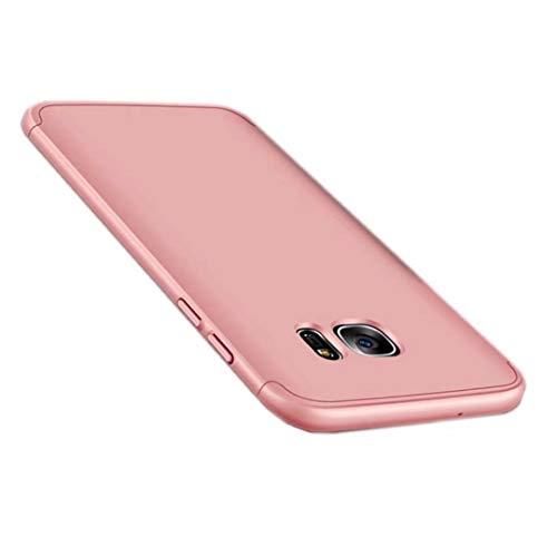 TXLING Funda Samsung Galaxy S7 Edge Bumper 3 en 1 Estructura 360 Grados Case Ultra-Delgado Anti-rasguños Carcasa para Samsung Galaxy S7 Edge Oro Rosa+ Cristal Templado