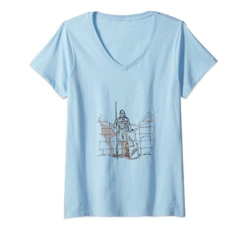 Mujer Romano, soldado romano, legionario con armadura, en el Limes Camiseta Cuello V
