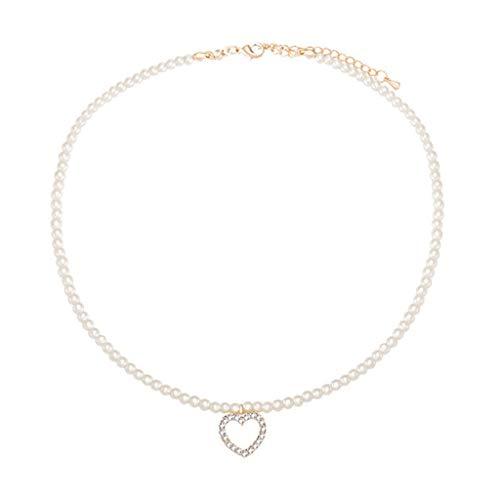 Collar de perlas de lujo para mujer, perlas de imitación de Chian, gargantilla con delicado colgante de corazón, regalo para novio, novia, cumpleaños, aniversario