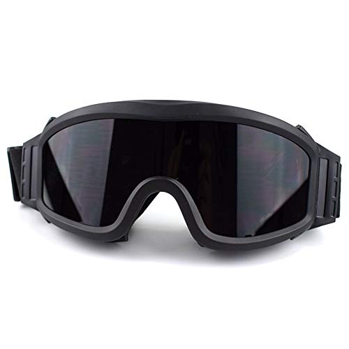 Airsoft Goggles Tactical Safety Glasses with 3 Interchangeable Lenses Anti Fog (Black)