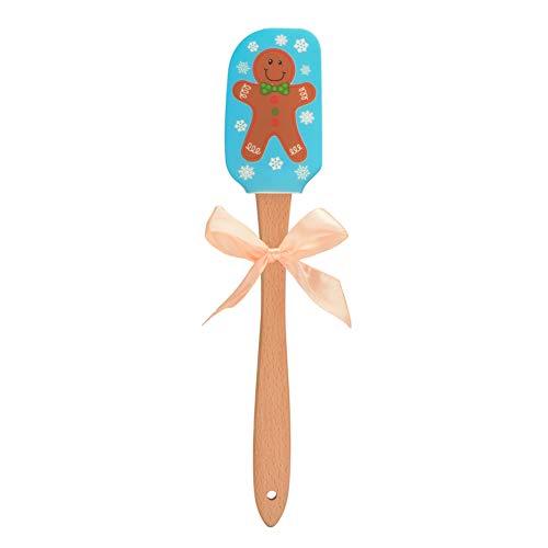 JIESD-Z espátula de Navidad con patrón clásico de Papá Noel Mini espátula de goma, mango de madera natural, espátula antiadherente para hornear, herramientas esenciales de cocina, el mejor regalo de Navidad talla única Hombre de jengibre