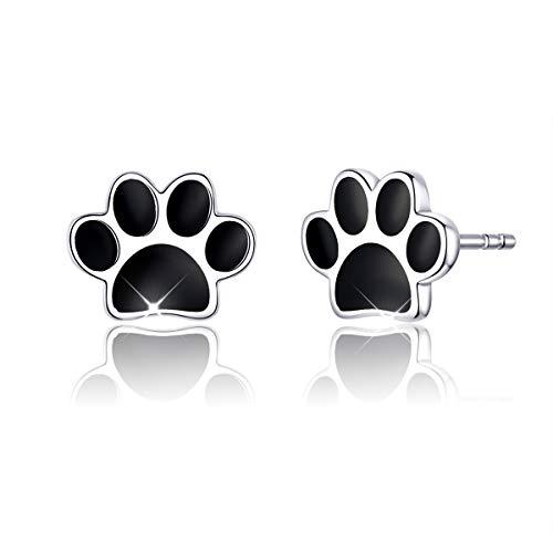 Pendientes de plata con forma de pata de perro para niñas y mujeres, pendientes de oreja de esmalte...