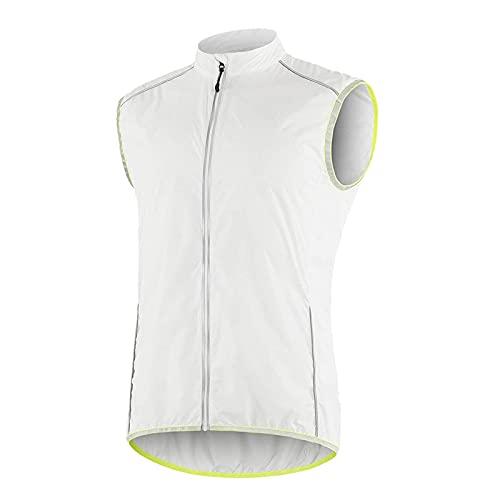 SFITVE Chaleco de Ciclismo para Hombre,360° Alta Visibilidad Respirable Chaleco Reflectante,Impermeable Respirable Ropa Cortavientos,MTB Chaqueta de Bicicleta(Size:L,Color:Blanco)