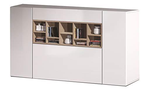 Esidra Mobile Buffet credenza, 3 Ante, Legno Bianco e Rovere, 150 x 91 x 42 cm