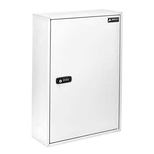 AdirOffice Key Storage Cabinet with Combination and Key Lock - Wall Mounted Steel Keybox w/Code - Durable Safe & Organizer for Keys (200 Key, White)