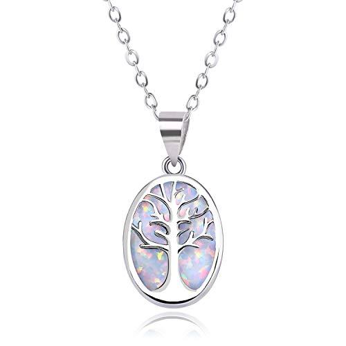KELITCH Halskette Zum Frau Geschaffen Opal Silber Anhänger Schmuck Halskette Baum Von Leben Mama Frau Geschenk Verpackt Weiß