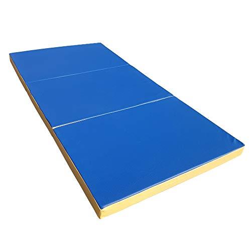 NiroSport Weichbodenmatte 300 x 100 x 8 cm klappbar Turnmatte Gymnastikmatte Fitnessmatte Sportmatte Trainingsmatte (Blau/Gelb)