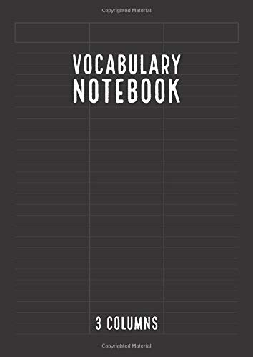 Vocabulary Notebook 3 Columns: Vocabulary Notepad | Foreign Language Vocabulary Learning Notebook | A4 Size | Vintage Black
