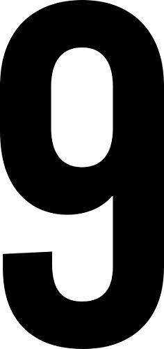 ShirtInStyle Zahlen selbsklebende Aufkleber, von 2-50cm Höhe, Mülltone, Haustür, Basteln, Boote, Nummern, Kennzeichen, Türen, Spint, Umkleide, Hausnummer, Bootsnummer, Zahl 9-15cm, schwarz