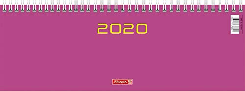 BRUNNEN 107726164 Tischkalender/Querterminbuch Modell 772 (2 Seiten = 1 Woche, 297 x 105 mm, Karton-Umschlag, Kalendarium 2020, Wire-O-Bindung) pink