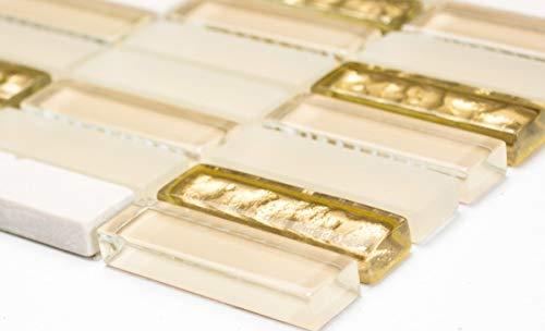 Mosaikfliese Transluzent weiß gold Stäbchen Glasmosaik Crystal Stein weiß matt gold MOS87-1202_m