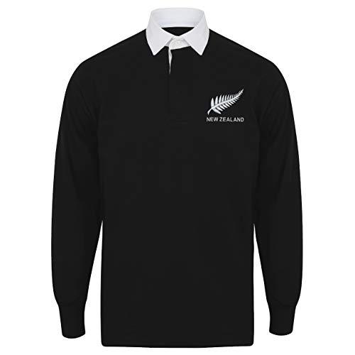 Chemise de rugby de l'équipe néo-zélandaise personnalisable pour homme, noir/blanc, XXL- 122 cm