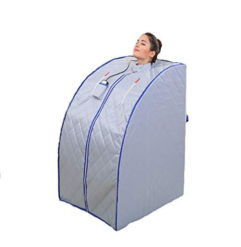 Wanforjewellery Folding Far Infrared Sauna Room, Portable Bath Steaming Room Full Body Fumigation Tent Sauna 36 Large Granule Tourmaline,Silver