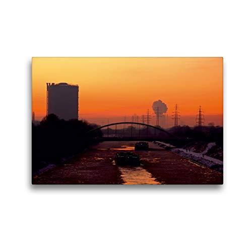 Premium Textil-Leinwand 45 x 30 cm Quer-Format Rhein-Herne-Kanal bei Oberhausen mit Gasometer | Wandbild, HD-Bild auf Keilrahmen, Fertigbild auf hochwertigem Vlies, Leinwanddruck von Sigrun Düll
