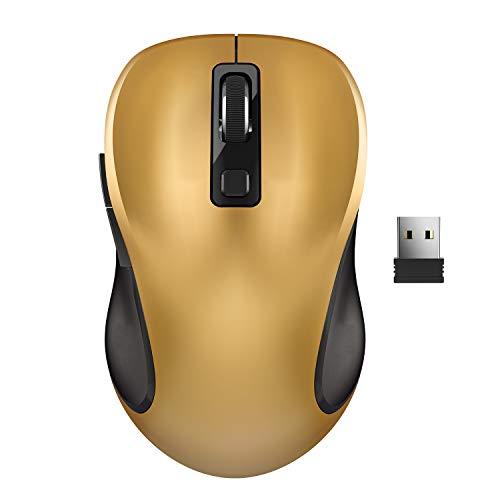 WisFox Ratón Inalambrico, Ratón Ergonómico Inalámbrico de 2.4G Ratón de Computadora Ratón Laptop Ratón USB 6 Botones con Receptor Nano 3 Niveles de dpi Ajustables Ratones para Windows,Mac (Amarilla)