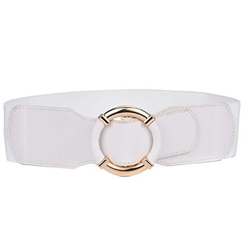 Beltox Women Elastic Belt Dress Stretchy Wide Waist Vintage Thick Cinch PU Leather