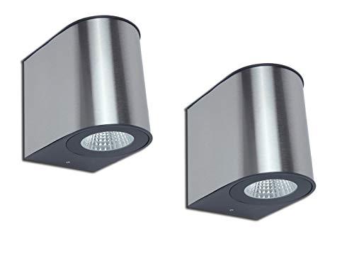 Lutec Lot de 2 appliques murales d'extérieur LED en acier inoxydable robuste IP54