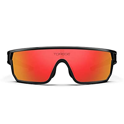 TOREGE Polarized Sports Sunglasses For Man Women Cycling Running Fishing Golf TR90 Fashion Frame TR16 Warrier (Black&Black&Red Lens)