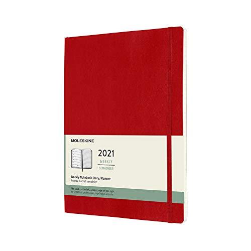 Moleskine - Agenda Settimanale 2021, Agenda Settimanale 12 Mesi, Weekly Planner e Notebook, Copertina Morbida, Formato XL 19 x 25 cm, Colore Rosso Scarlatto, 144 Pagine